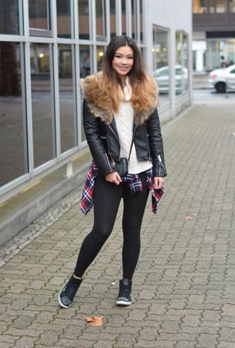 raspberry jam blogger faux fur jacket black leggings high top sneakers