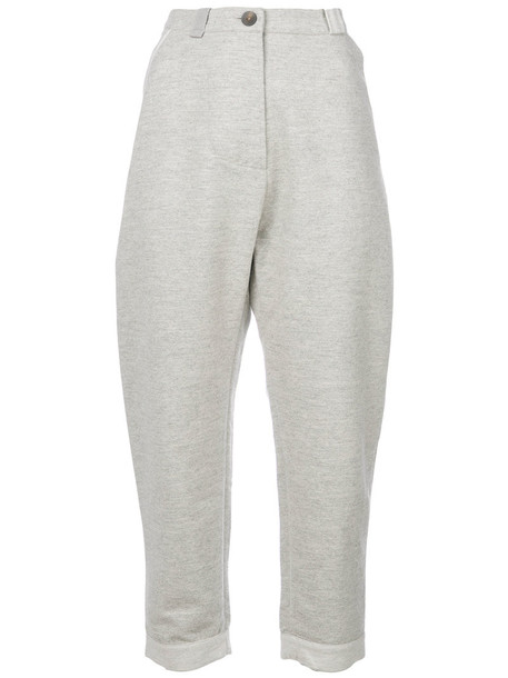 humanoid cropped women cotton wool grey pants