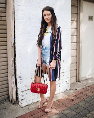 shirt tumblr stripes striped shirt long shirt t-shirt white t-shirt denim denim shorts shorts sandals sandal heels high heel sandals bag red bag chain bag shoes