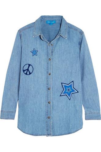 shirt denim shirt denim embroidered top