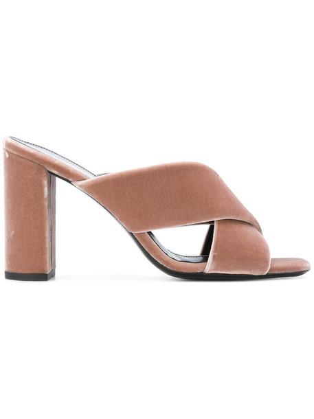 Saint Laurent women mules leather velvet purple pink shoes