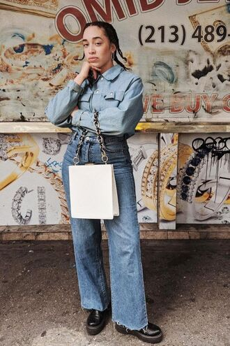 bag white bag denim blue shirt jeans high waisted black shoes flare jeans top blue top