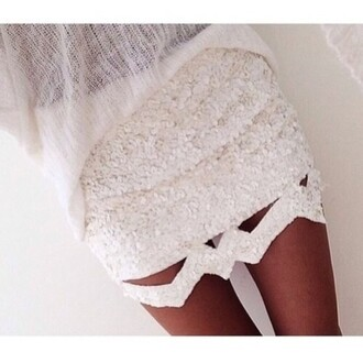 skirt white pearl cut-out shorts tumblr