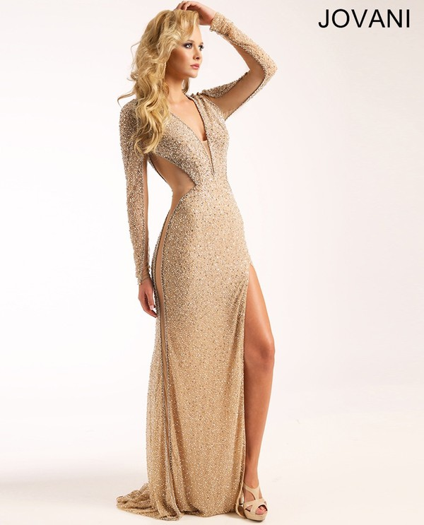 Dress: gol, prom, jovani 96215, gold, gold dress, gold sequins ...