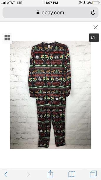 pajamas budweiser christmas men's ugly cotton onesie