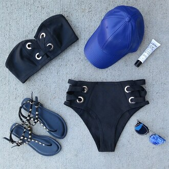 swimwear bathing suit top bathing suit bottoms sunglasses sandals summer beach gojane swimwear two piece