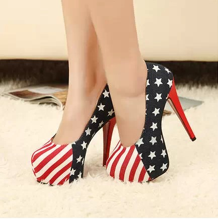 Free shipping 2014 New arrival women's Gugin Fashion American Flag High Heels Shoes Sexy Lady Platform Pumps Sandals-inPumps from Shoes on Aliexpress.com