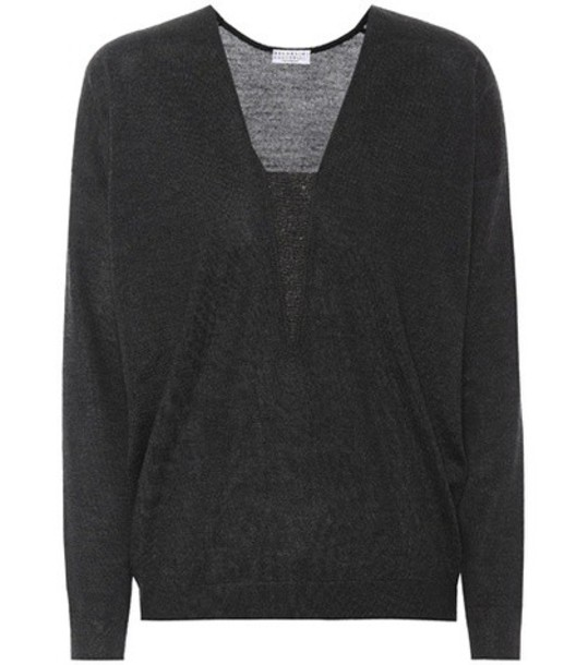 BRUNELLO CUCINELLI sweater silk grey