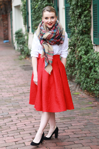 poor little it girl blogger skirt scarf midi skirt heels red skirt tartan scarf shirt shoes bag jewels
