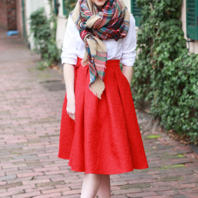 jewels scarf bag shoes shirt skirt red skirt heels blogger tartan scarf poor little it girl midi skirt scarf red