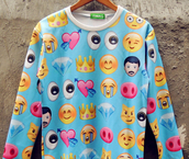 top,sweatshirt,print,emoji print,shirt,sweater