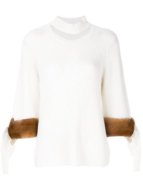 sweater fur women white cotton