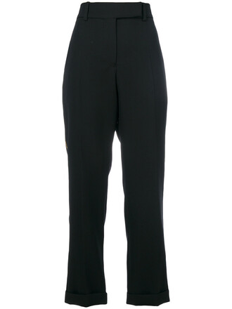 pants women cotton black wool
