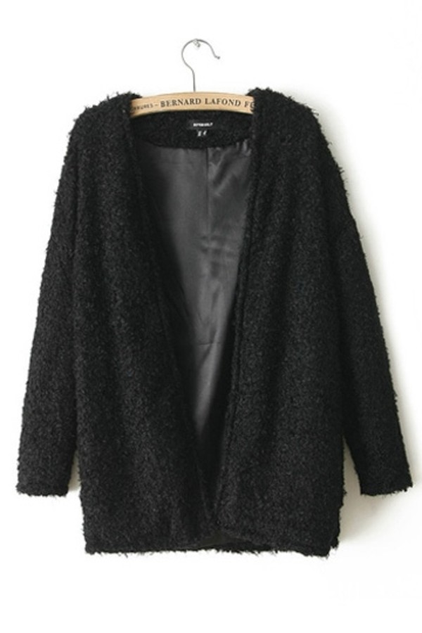coat black tumblr jacket fur bernard lafond