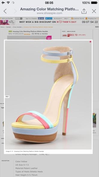 shoes strap stiletto heel stilettos high heel sandals pastel