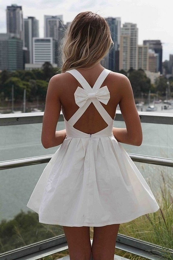 mini dress white dress summer dress bow midi dress midi skirt dress white pretty girl summer fashion girly dress party shoes white dress with bow in back k seen on wish all loop beautiful Bow Back Dress short cute feminine strappy noeud cute dress bow dress