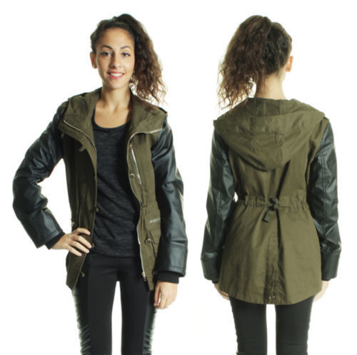 WOMENS LEATHER LOOK SLEEVES MILITARY HOODED PARKA JACKET KHAKI 8 ...