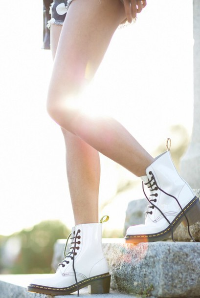 shoes white shoes cute shoes pretty girl girly fashion style boots booties shoes booties clothes footwear punk grunge