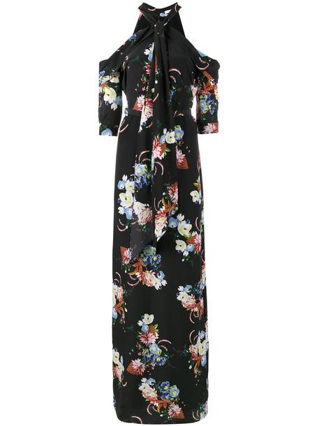 Erdem dress women cold floral print black silk
