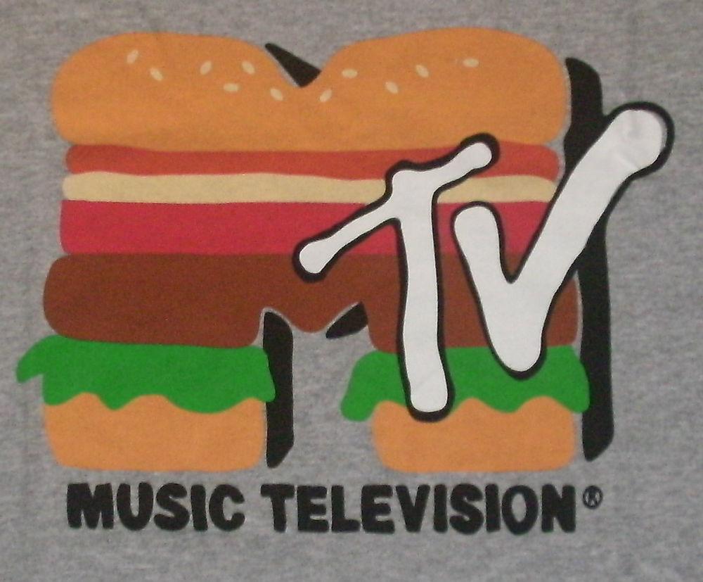 New mens xl mtv burger sandwich logo t shirt mtv music video retro 80's look tee