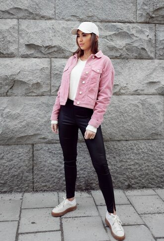kenza blogger jacket pants shoes cap spring outfits pink jacket sneakers