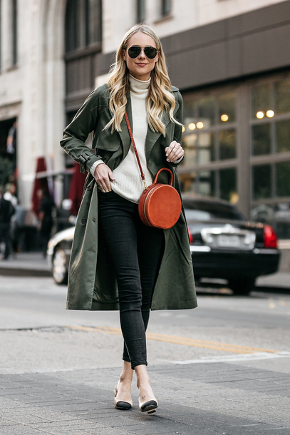 fashionjackson blogger jacket sweater shoes bag sunglasses jewels round bag green coat pumps black jeans winter outfits tumblr brown bag white sweater knit knitwear knitted sweater turtleneck coat trench coat denim jeans skinny jeans