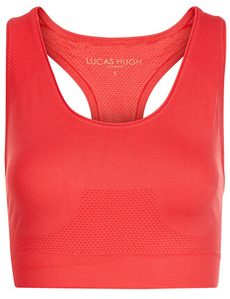 bra sports bra knit coral red underwear