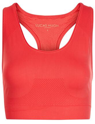 bra sports bra knit coral red underwear