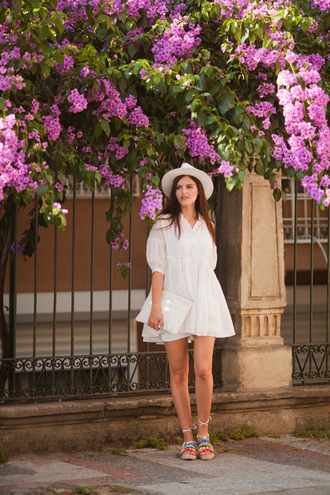 the bow-tie blogger dress shoes hat bag white dress lace dress mini dress clutch white hat flats date outfit