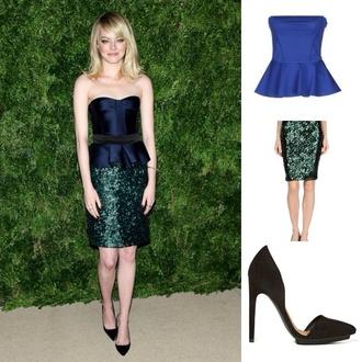 skirt emma stone sequin skirt bustier navy forest green sequins