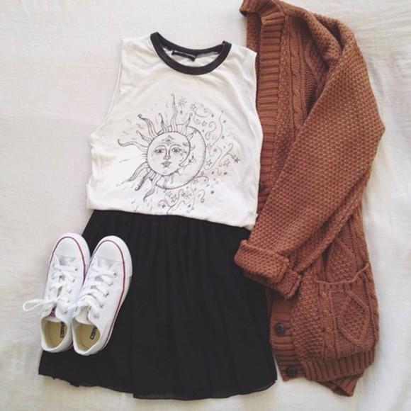orange white black cardigan skirt moon and sun tank top skater skirt knitted cardigan t-shirt