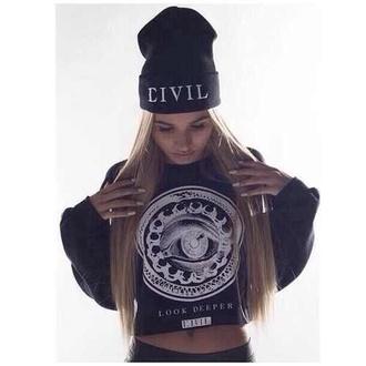 hat pia mia perez civil black sweater beanie sweater black sweatshirt crewneck swag pretty girl top