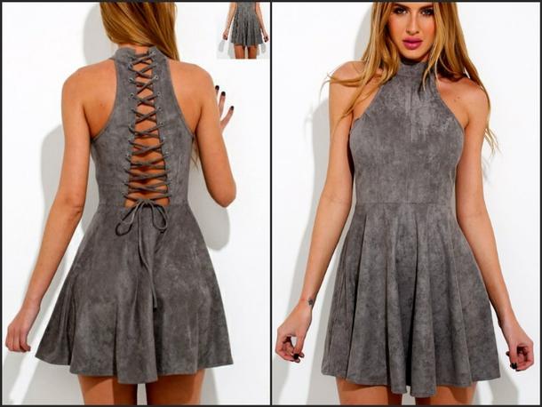 cf6f6ab58f dress skater dress mini dress sleeveless dress grey grey grey dress grey dress  lace up lace