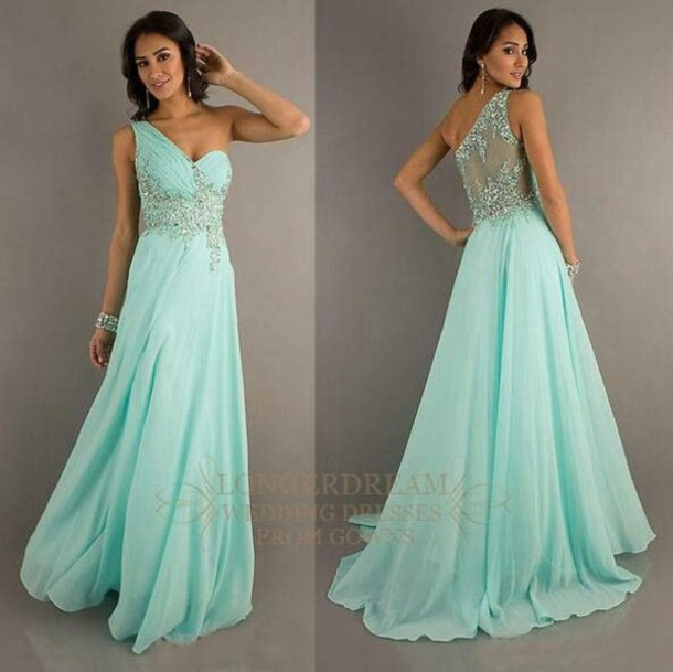 Mint One-Shoulder Perlen Abendkleid Kleider Ballkleid Brautkleid Gr ...