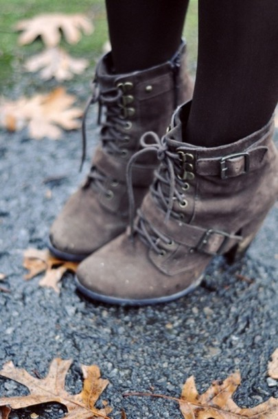 Shoes: grey boots, heels, brown, boots, laces, booties, combat ...