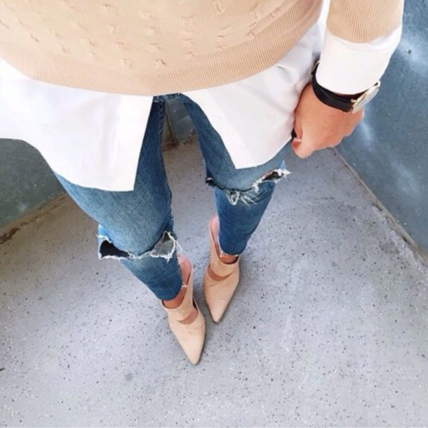 jeans nude beige cute clothes style girly preppy