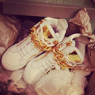 shoes gold chain white swag dope fleek fly high top sneakers