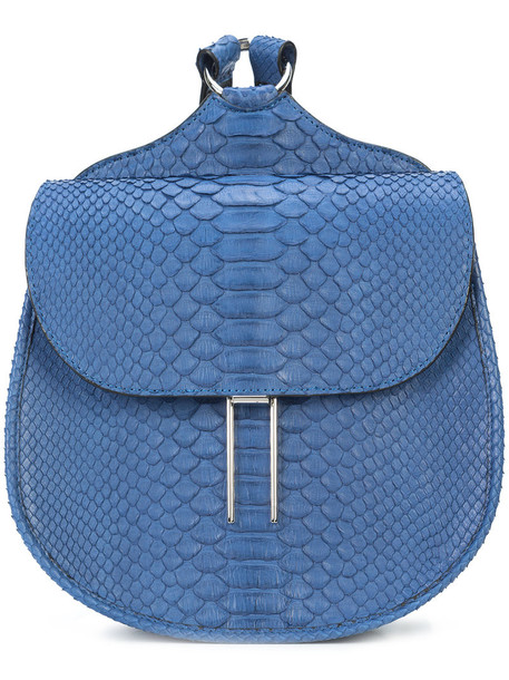 Hayward mini women python backpack blue suede bag