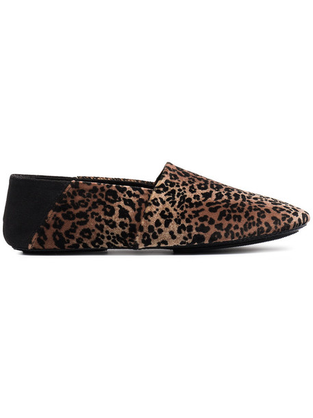 women loafers print velvet brown leopard print shoes