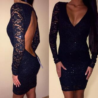 sparkle dress black open back dress