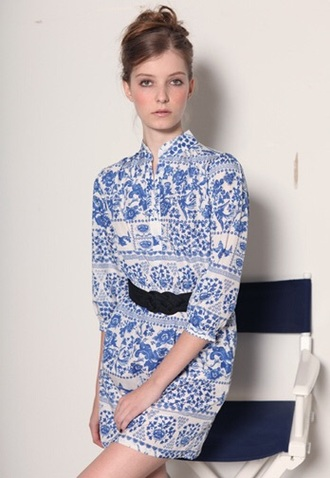 jumpsuit romper blue and white long sleeves china pattern classy belt collar collared romper long sleeved romper