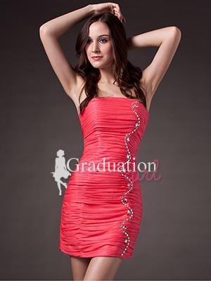 Peach Cute Short Mini Petite Tight Strapless Graduation Dress - US$84.59 - Style G0167 - Graduation Girl