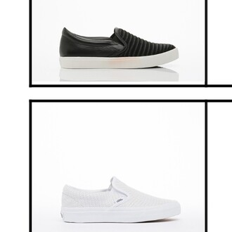 shoes slip on shoes black leather women vans