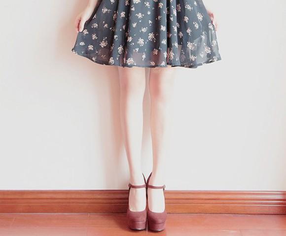 floral skirt skater skirt grey
