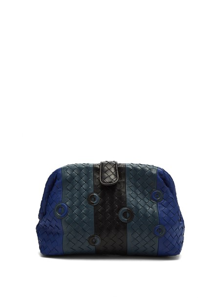 Bottega Veneta leather clutch clutch leather blue bag