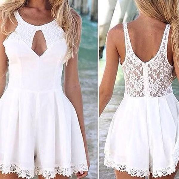 romper white lace short cute