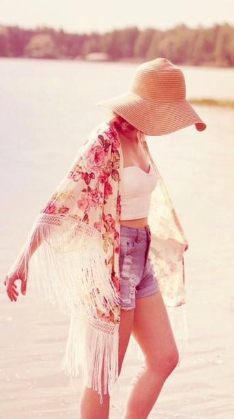 blouse fringe kimono