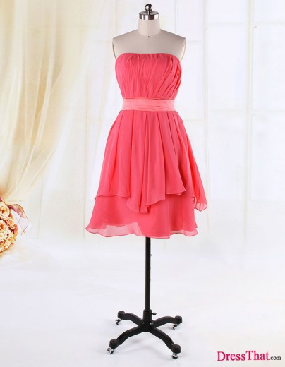 Simple Elegant A-line Strapless Ruched Pink Chiffon Satin Sash Bridesmaid Dress BD-50056