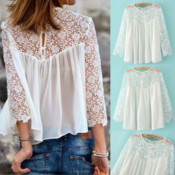 lace top shirt blouse top flowers jeans