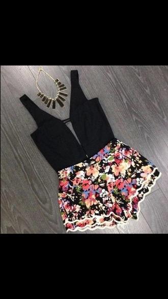 romper floral shirt